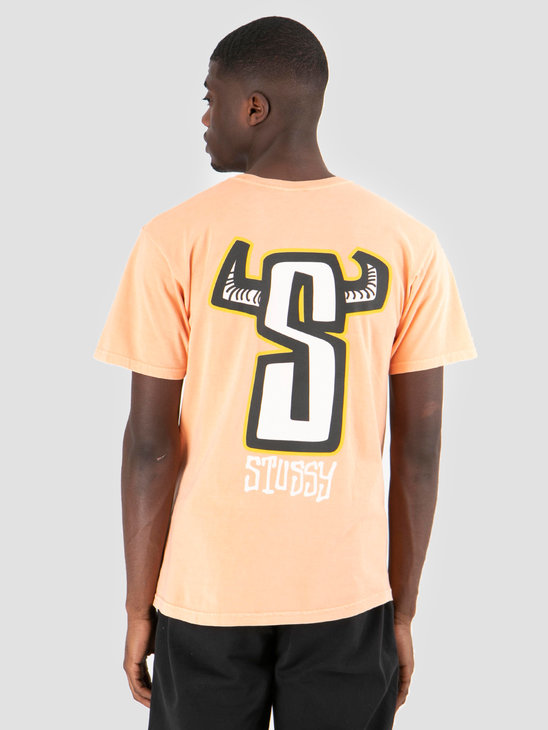Stussy Horns Pig Dyed T-Shirt Coral 0607