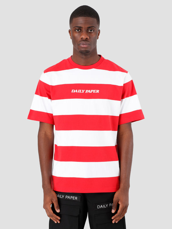 Daily Paper Resort Striped T-shirt Red White 19R1TS02-01