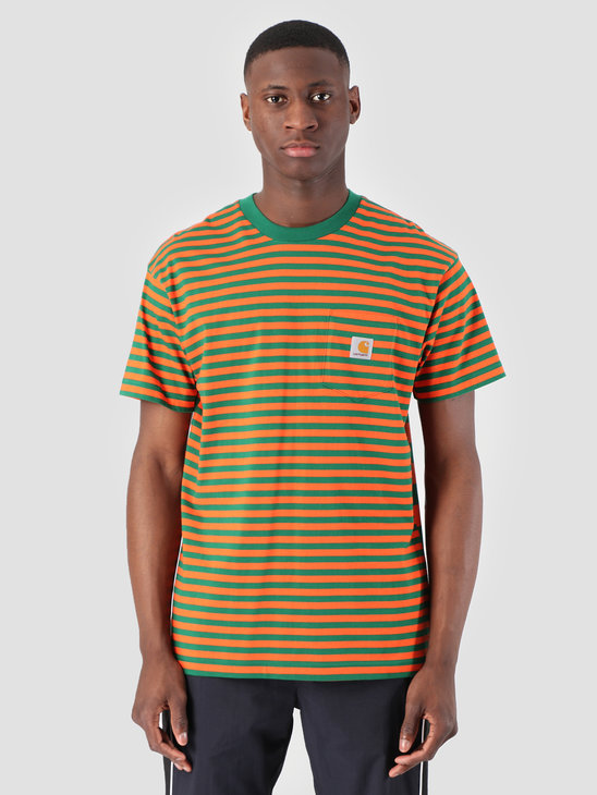 Carhartt WIP Barkley Pocket T-Shirt Stripe Barkley Stripe, Dragon Clivia I026364