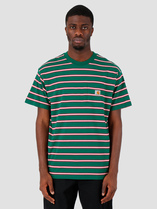 Carhartt WIP Houston Pocket T-Shirt Stripe Houston Stripe, Dragon I026370