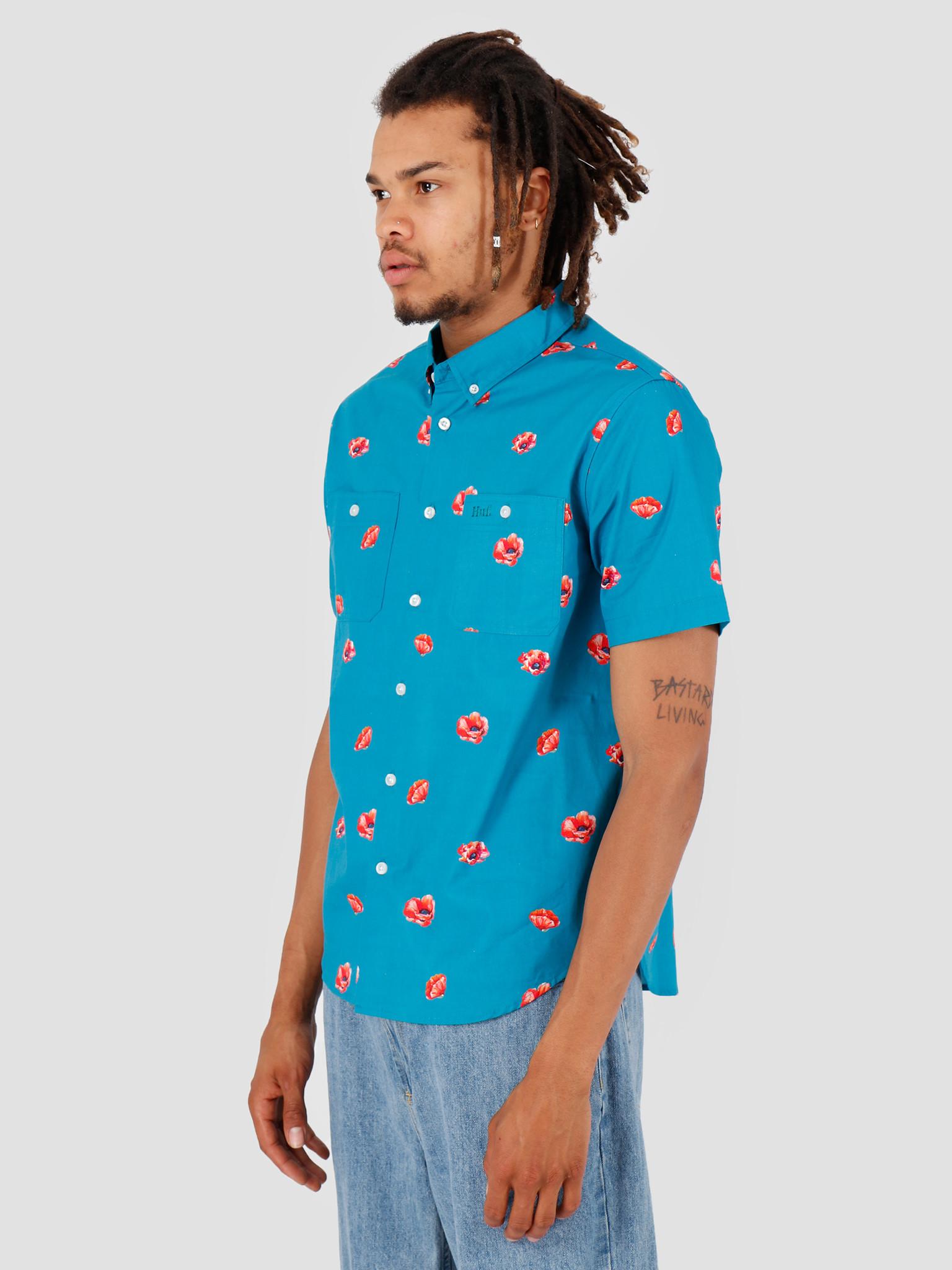 HUF HUF Poppy Shortsleeve Woven Shirt Biscay Bay BU00052