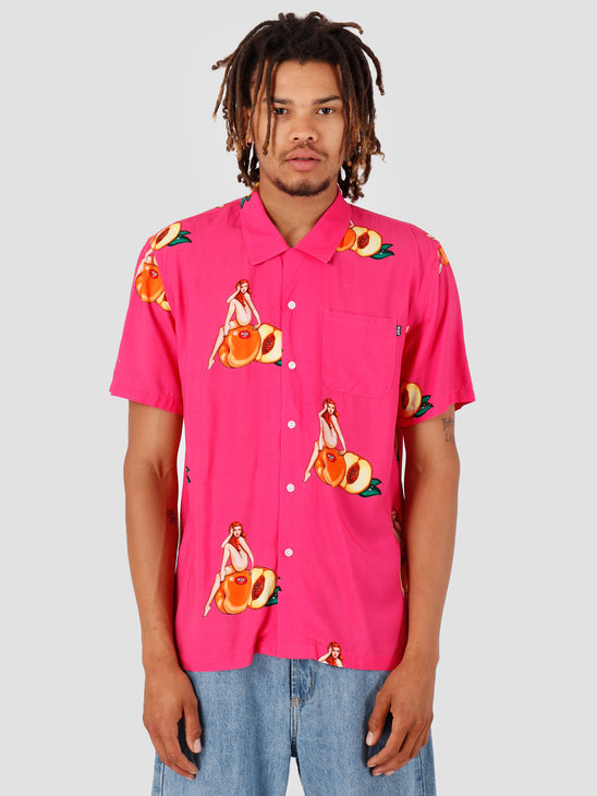 HUF Peachy Shortsleeve Woven Shirt Fuchsia BU00051