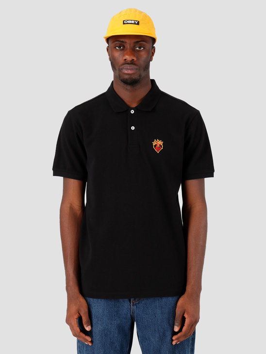 Obey Giant Heart Polo Black 131090050-BLK