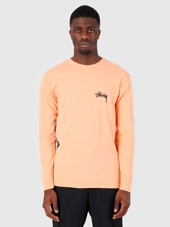 Stussy 8 Ball Stack Pig Dyed Longsleeve T-Shirt Coral 0607