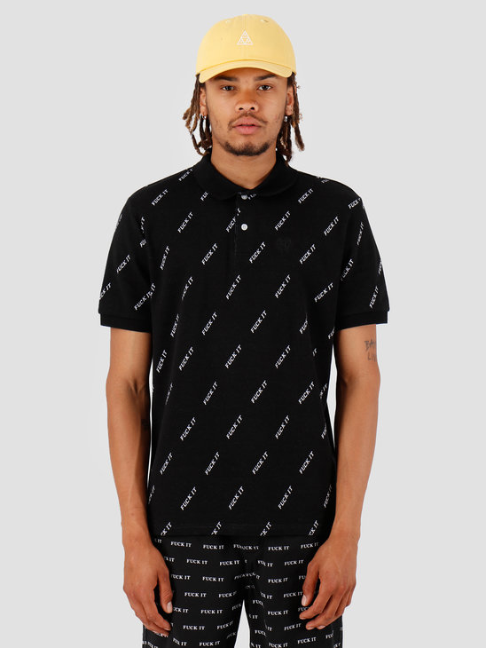 HUF Fuck It Polo Black KN00099