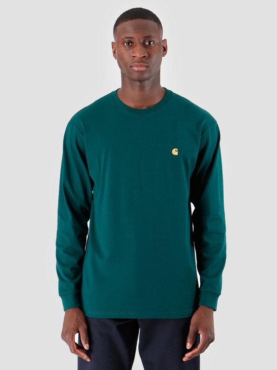 Carhartt WIP Longsleeve Chase Shirt Dark Fir Gold I026392