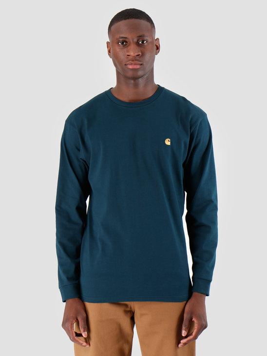 Carhartt WIP Longsleeve Chase Shirt Duck Blue Gold I026392