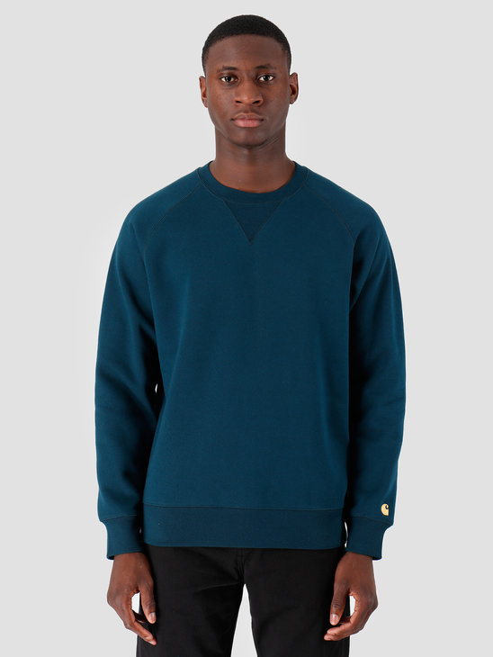 Carhartt WIP Chase Sweat Duck Blue Gold I026383