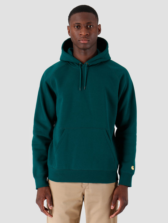 Carhartt WIP Hooded Chase Sweat Dark Fir Gold I026384