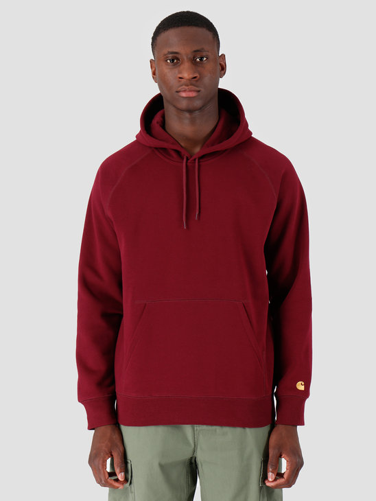 Carhartt WIP Hooded Chase Sweat Merlot Gold I026384