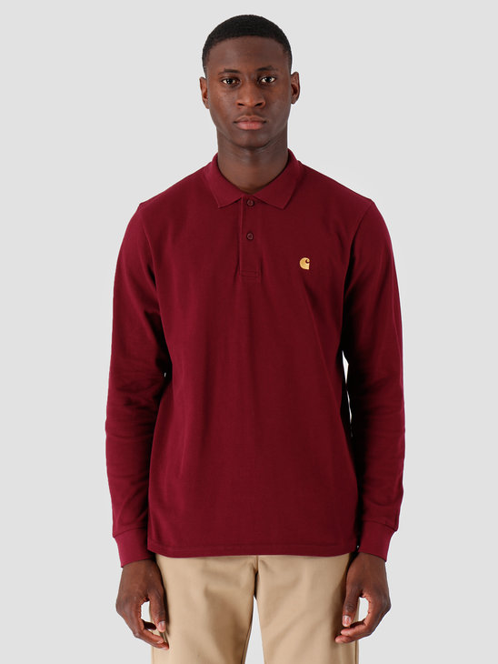 Carhartt WIP Longsleeve Chase Pique Polo Merlot Gold I027047