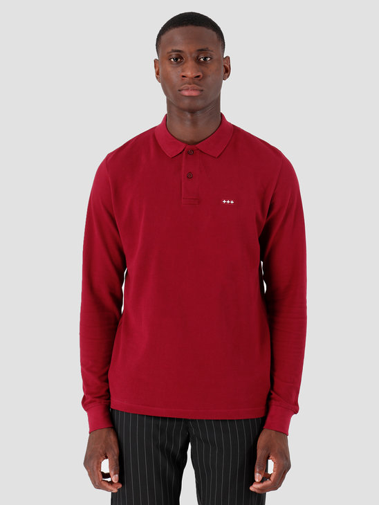 Quality Blanks QB51 Longsleeve Polo Burgundy Red