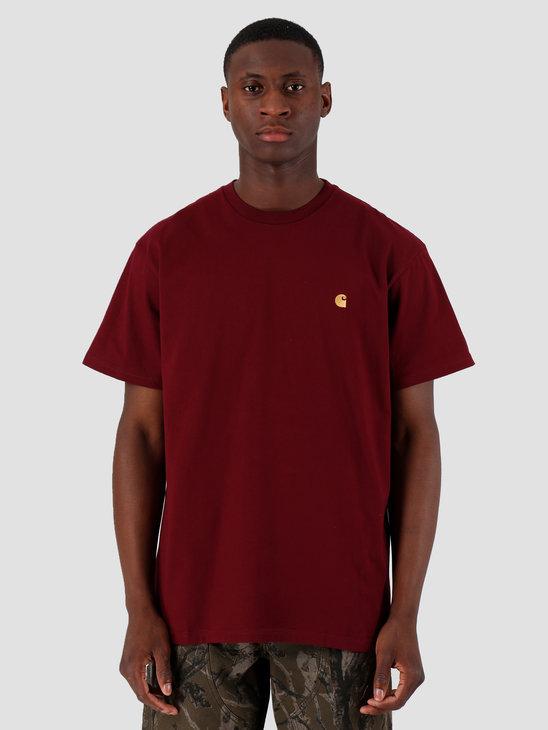 Carhartt WIP Chase T Shirt Merlot Gold I026391