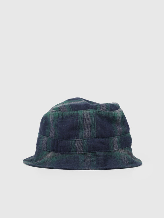 HUF John Plaid Bucket Hat Dark Navy HT00393-DKNAV