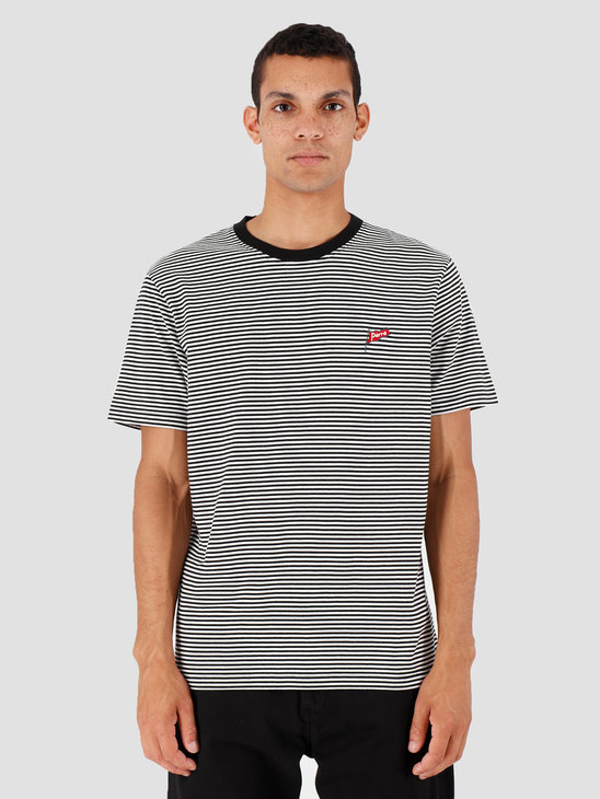 By Parra Flapping Flag Striped T-Shirt Black  White 42710