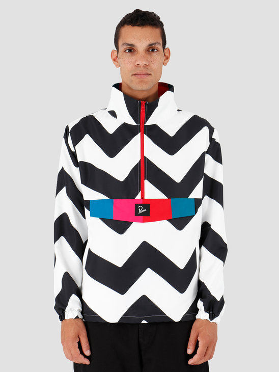 By Parra Vase Mountain Stripes Windbreaker Black  White 42790