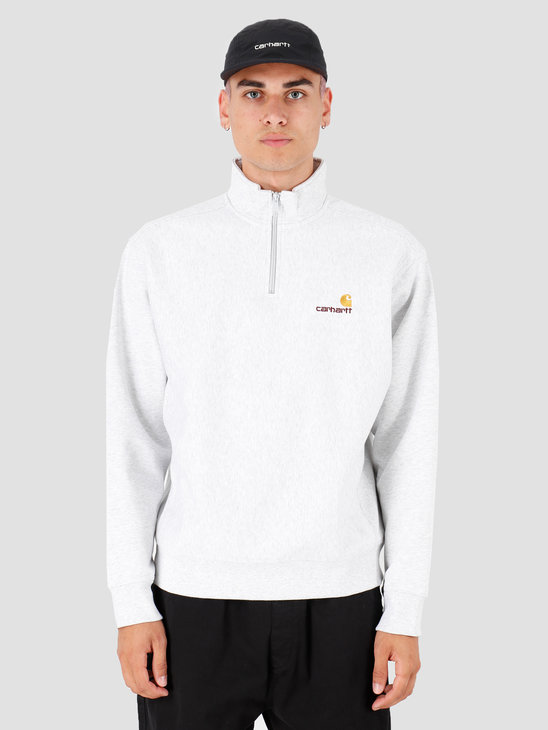 Carhartt WIP Half Zip American Script Sweat Ash Heather I027014