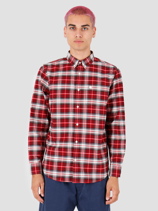 Carhartt WIP Longsleeve Linville Shirt Linville Check Cardinal Wax I026801