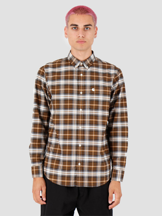 Carhartt WIP Longsleeve Linville Shirt Linville Check Hamilton Brown Wax I026801