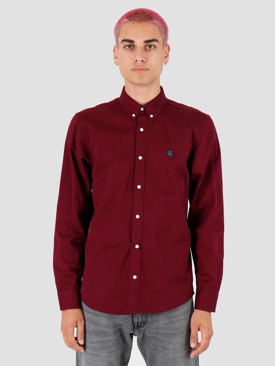 Carhartt WIP Longsleeve Madison Shirt Merlot Dark Fir I023339
