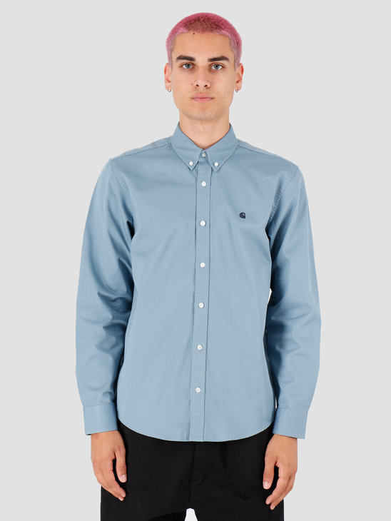 Carhartt WIP Longsleeve Madison Shirt Cold Blue Dark Navy I023339