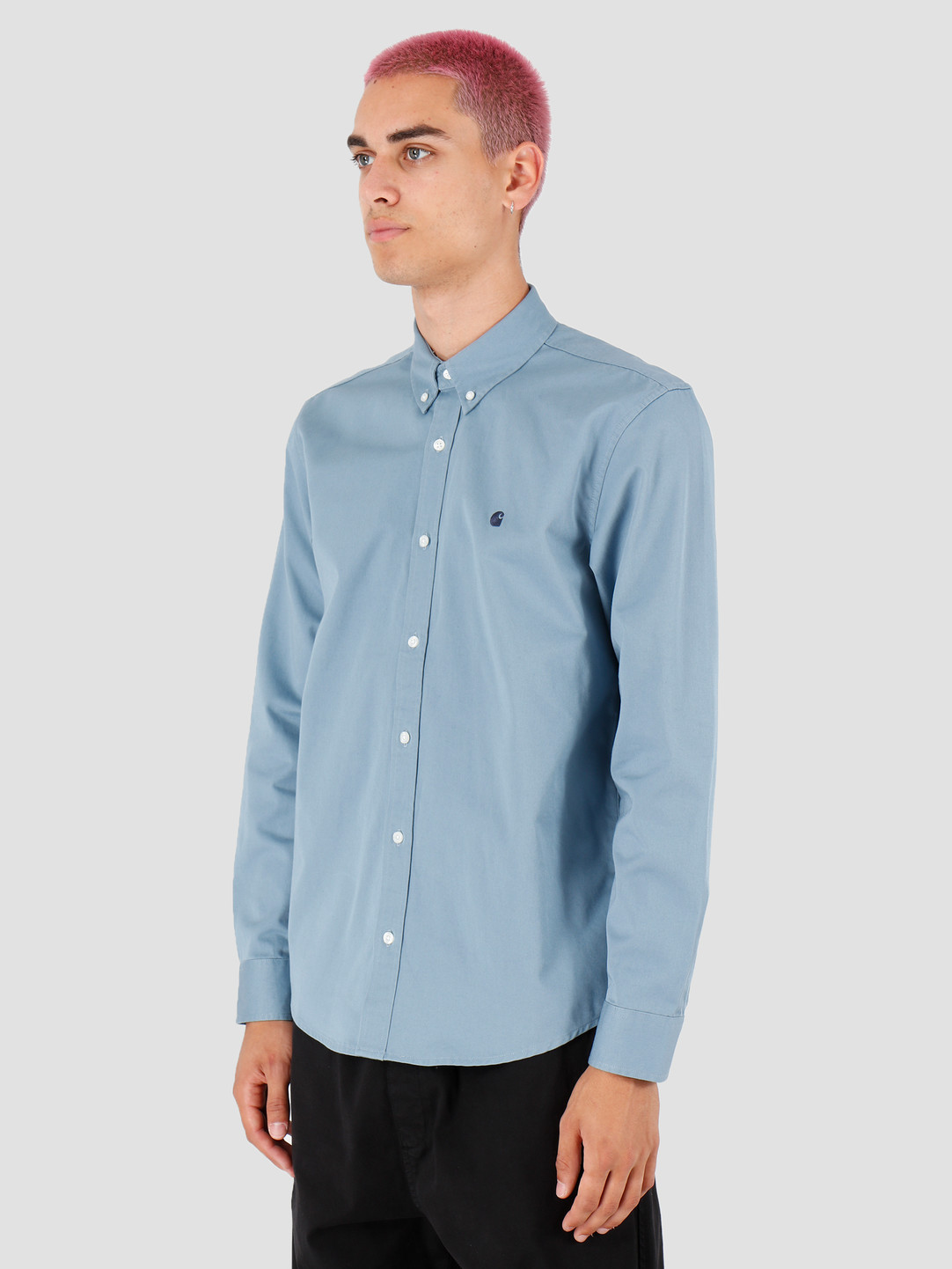 Carhartt WIP Carhartt WIP Longsleeve Madison Shirt Cold Blue Dark Navy I023339