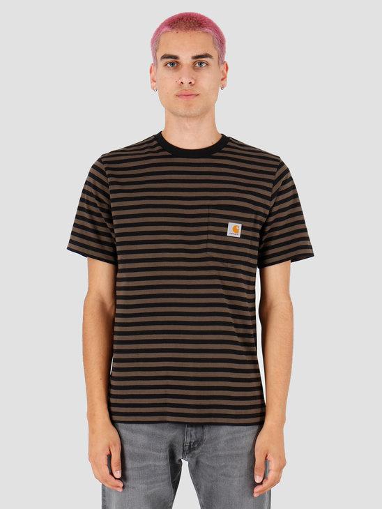 Carhartt WIP Haldon Pocket T Shirt Haldon Stripe Black Cypress I027066