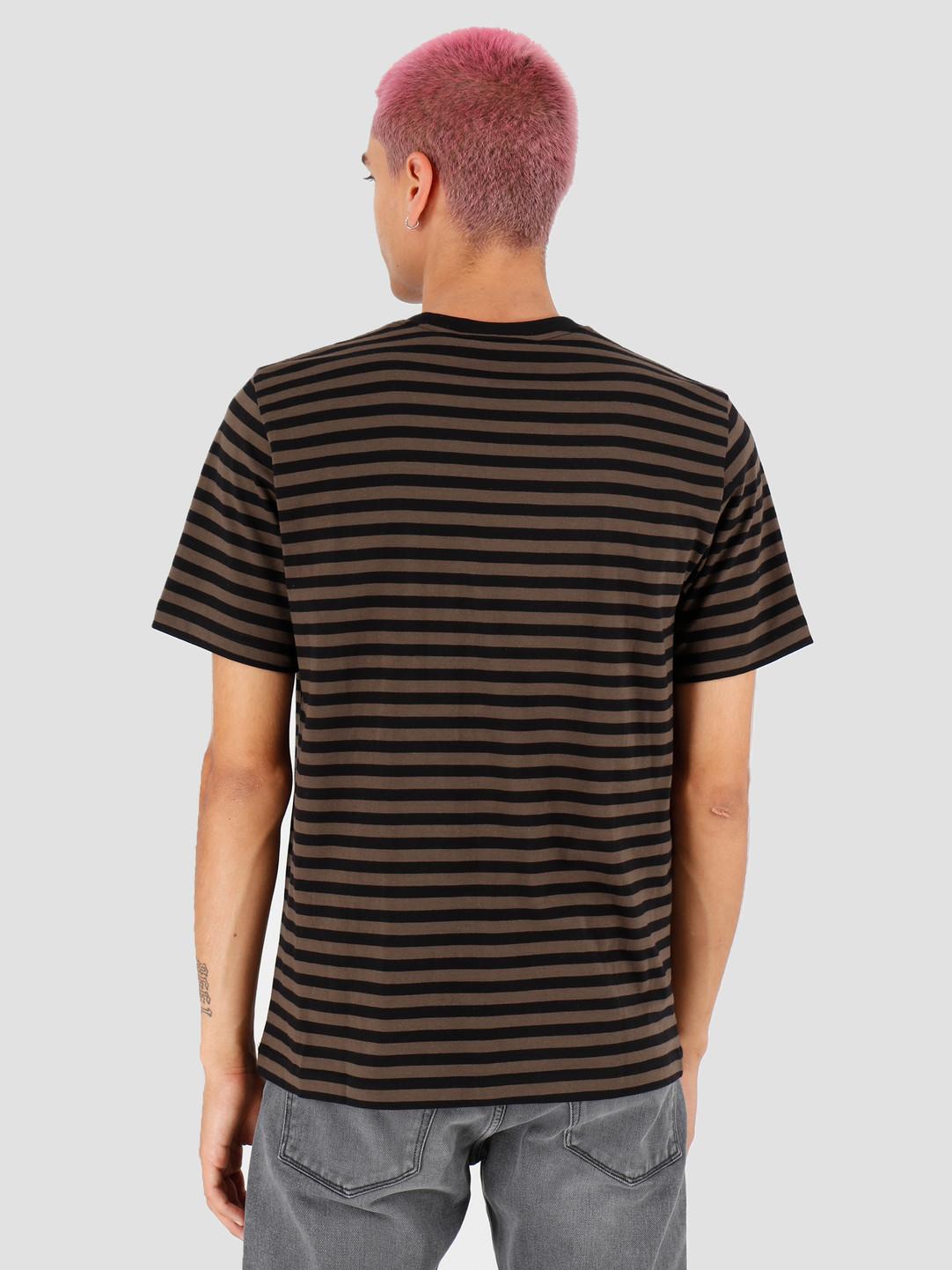 Carhartt WIP Carhartt WIP Haldon Pocket T Shirt Haldon Stripe Black Cypress I027066