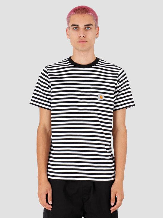 Carhartt WIP Haldon Pocket T Shirt Haldon Stripe Black White I027066