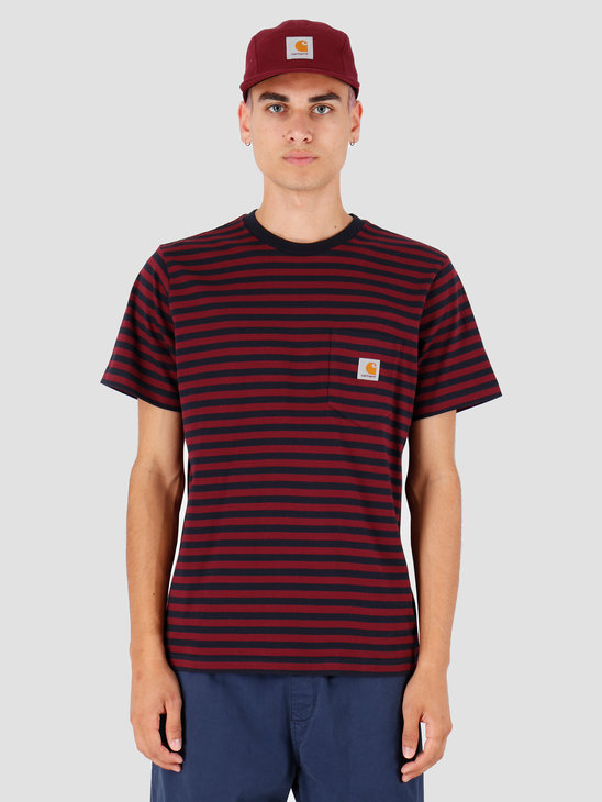 Carhartt WIP Haldon Pocket T Shirt Haldon Stripe Dark Navy Merlot I027066