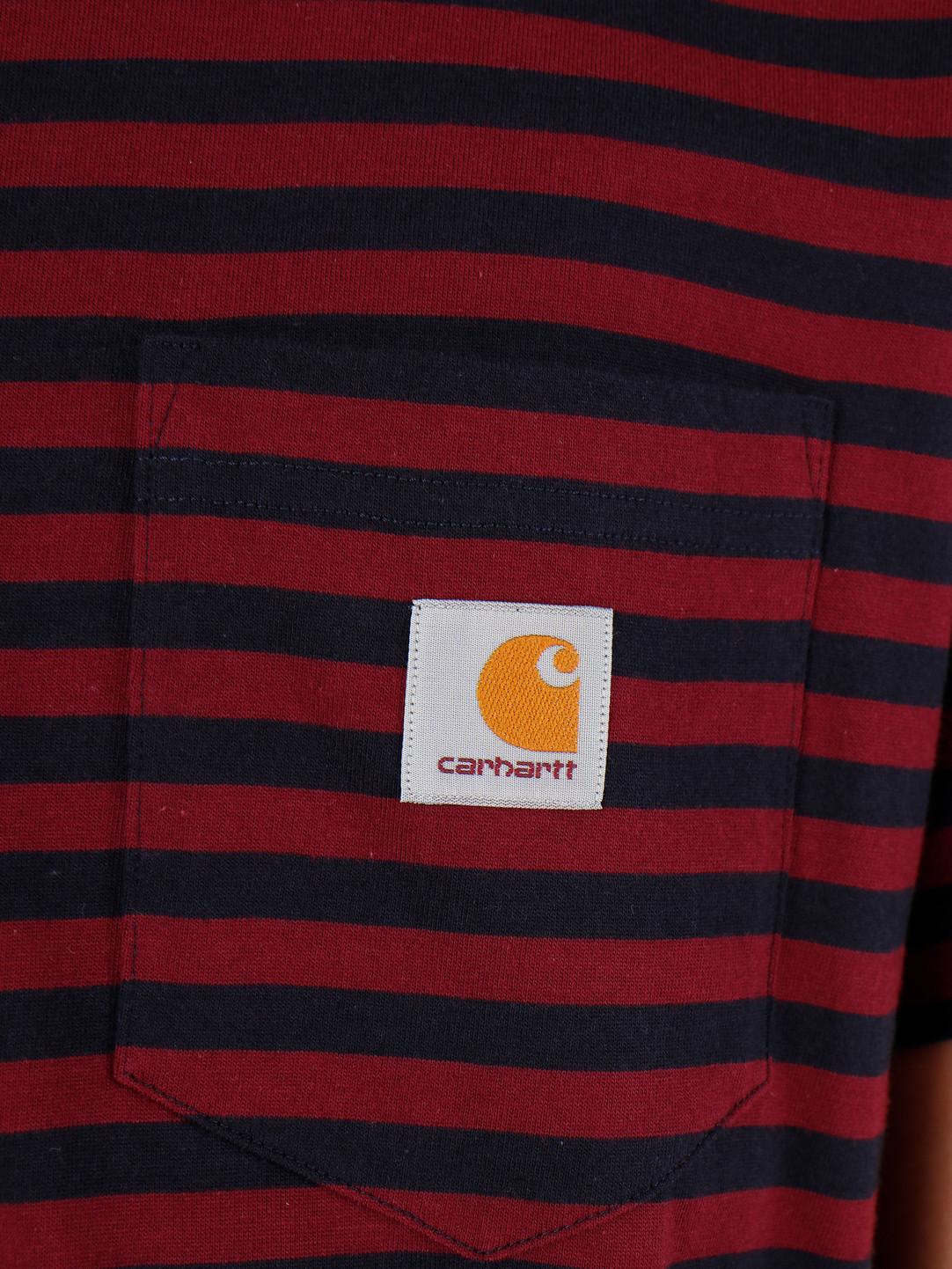 Carhartt WIP Carhartt WIP Haldon Pocket T Shirt Haldon Stripe Dark Navy Merlot I027066