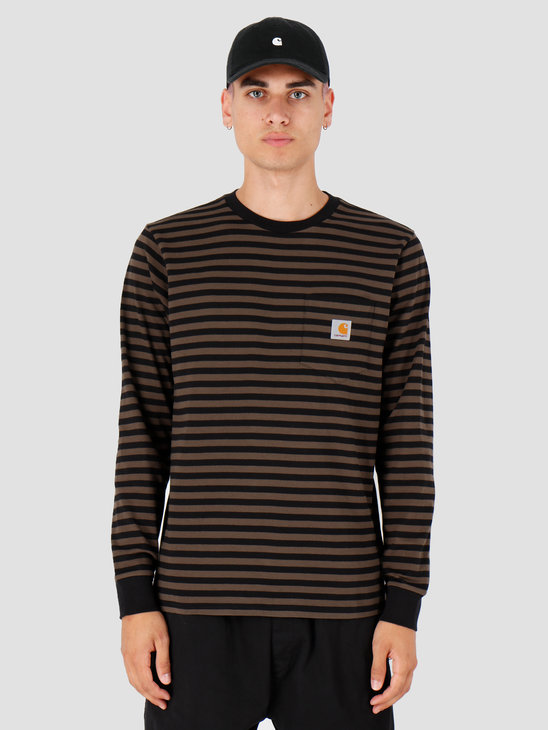 Carhartt WIP Longsleeve Haldon Pocket Shirt Haldon Stripe Black Cypress I027067