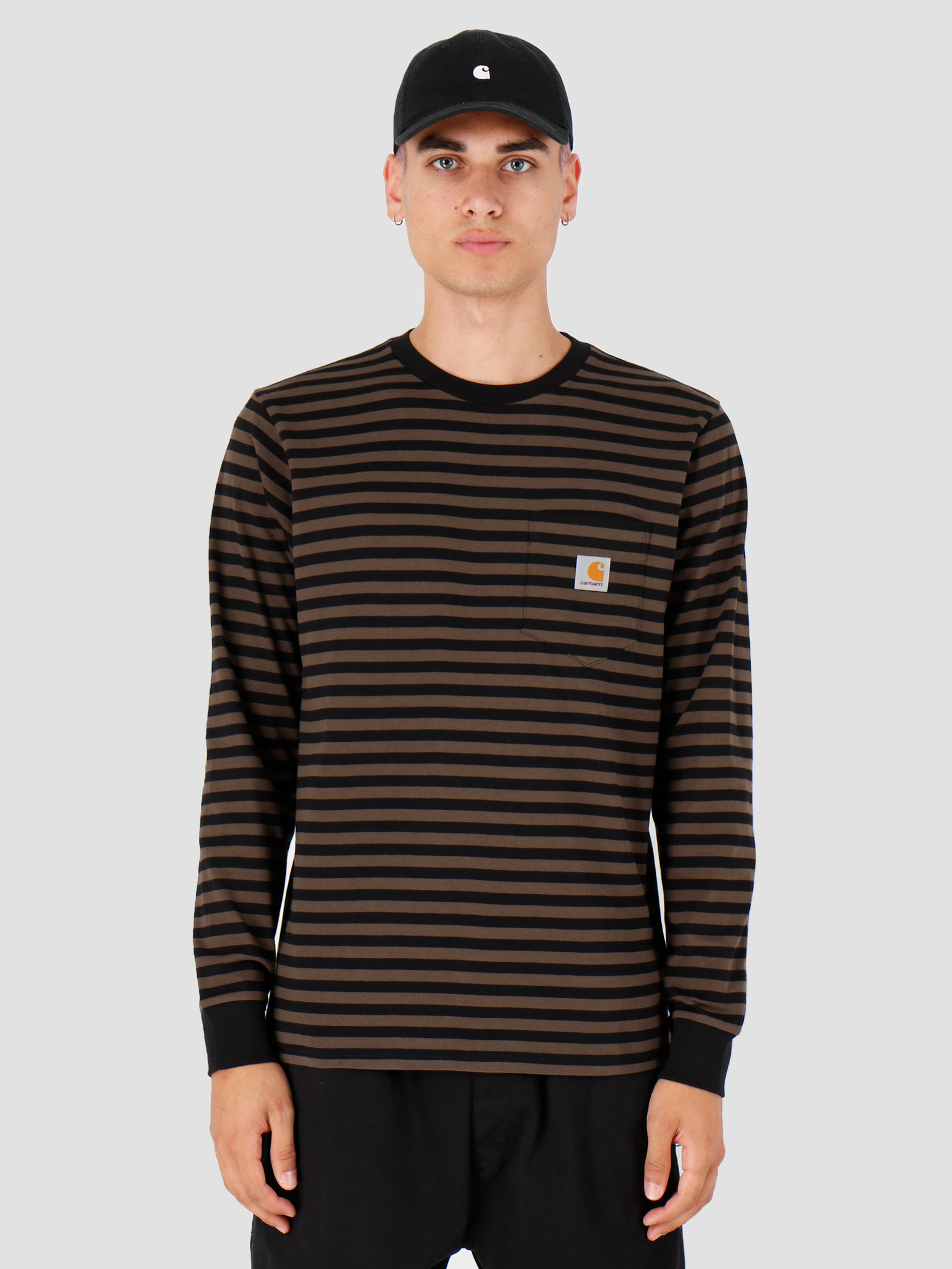 Carhartt WIP Carhartt WIP Longsleeve Haldon Pocket Shirt Haldon Stripe Black Cypress I027067
