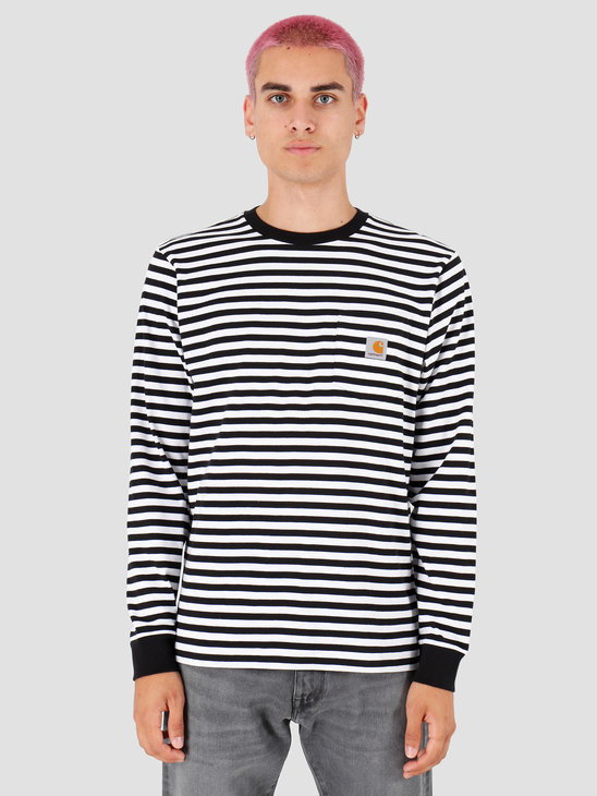 Carhartt WIP Longsleeve Haldon Pocket Shirt Haldon Stripe Black White I027067