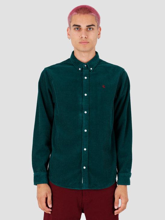 Carhartt WIP Longsleeve Madison Cord Shirt Dark Fir Merlot I025247