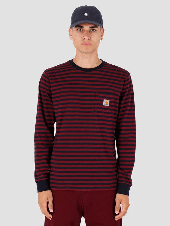 Carhartt WIP Longsleeve Haldon Pocket Shirt Haldon Stripe Dark Navy Merlot I027067