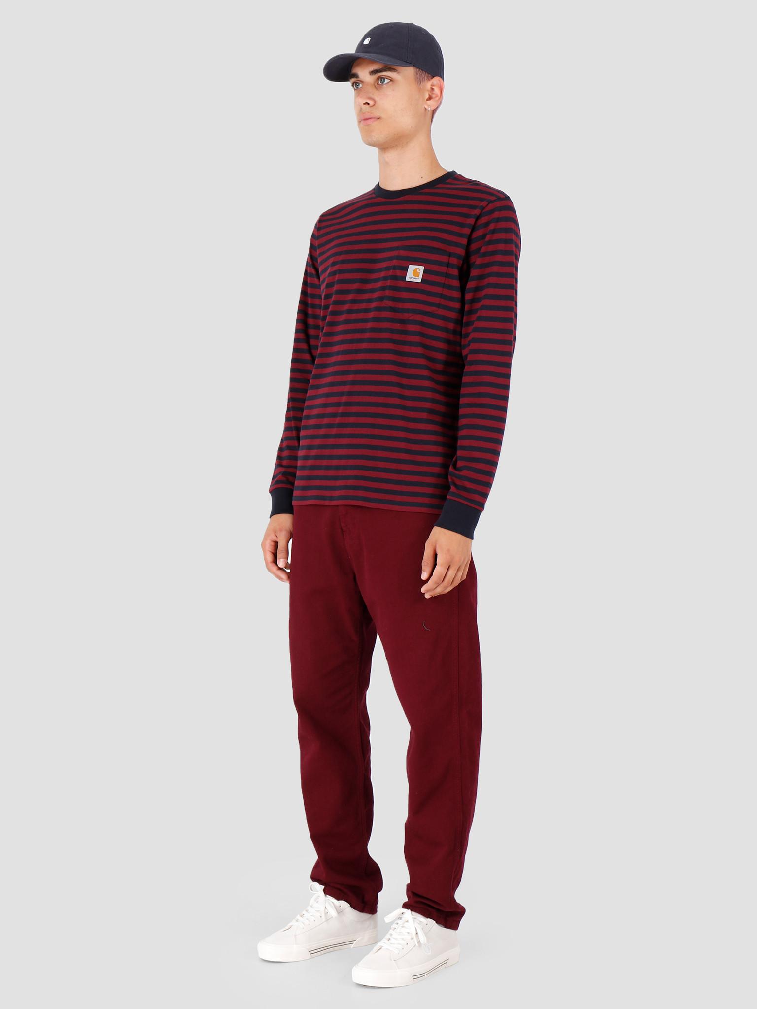 Carhartt WIP Carhartt WIP Longsleeve Haldon Pocket Shirt Haldon Stripe Dark Navy Merlot I027067
