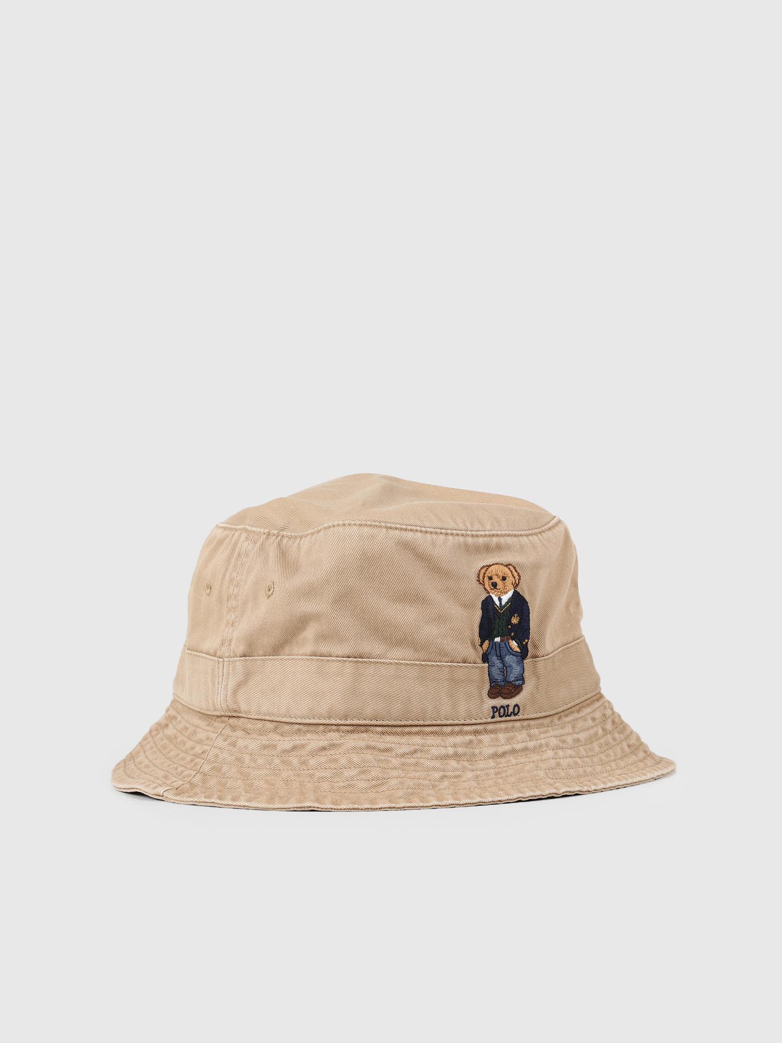 fe34716ed Polo Ralph Lauren Loft Bucket Hat Bear Beige Khaki 710765087001