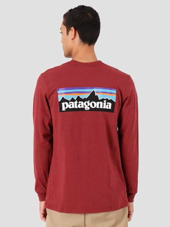 Patagonia Longsleeve P-6 Logo Responsibili Tee Oxide Red 39161