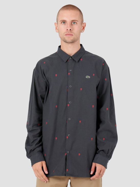 Lacoste 1HC2 Longsleeve Woven Shirt Graphite Multico CH8225-93