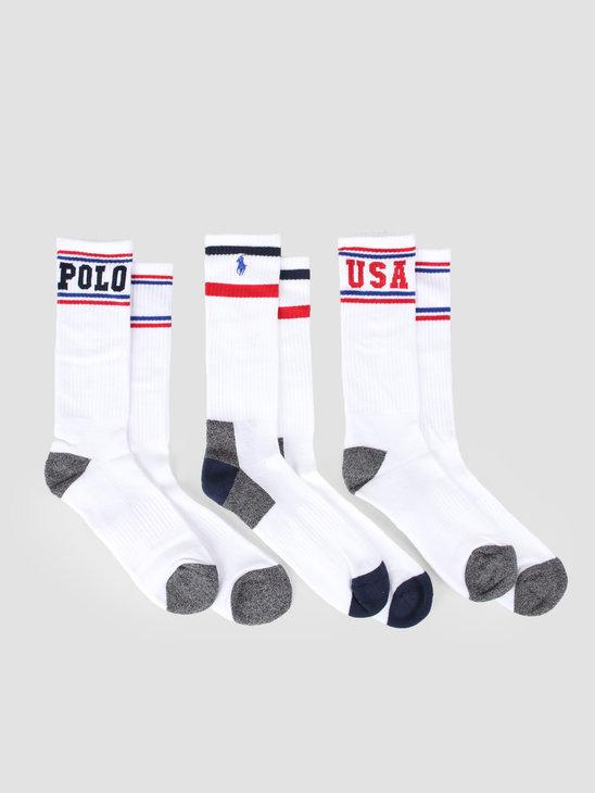 Polo Ralph Lauren 3 Pack Athletic Crewsocks Multi 449742755001