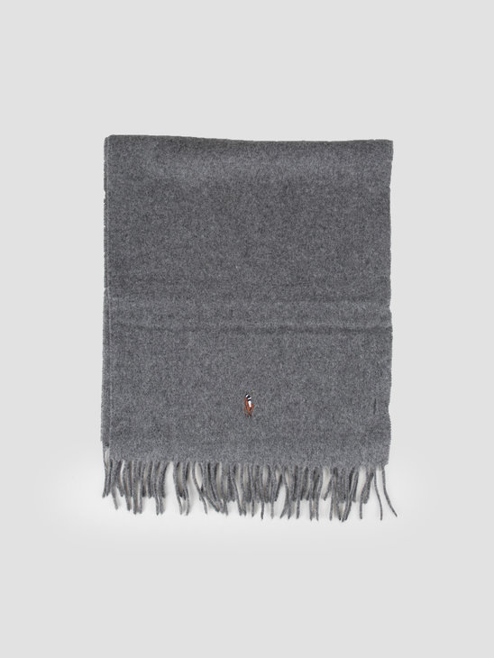 Polo Ralph Lauren Sign It Wool Oblong Scarf Fawn Grey Hthr 449727530003