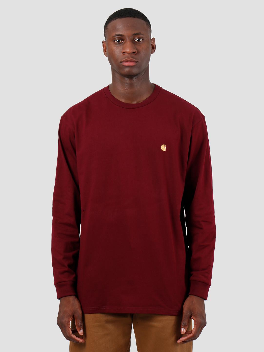 Carhartt WIP Carhartt WIP Longsleeve Chase Shirt Merlot Gold I026392