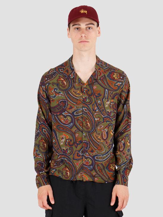 Stussy Cypress Paisley Longsleeve Shirt Olive 1110070