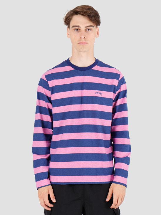 Stussy Printed Stripe Longsleeve Crew Blue 1140161