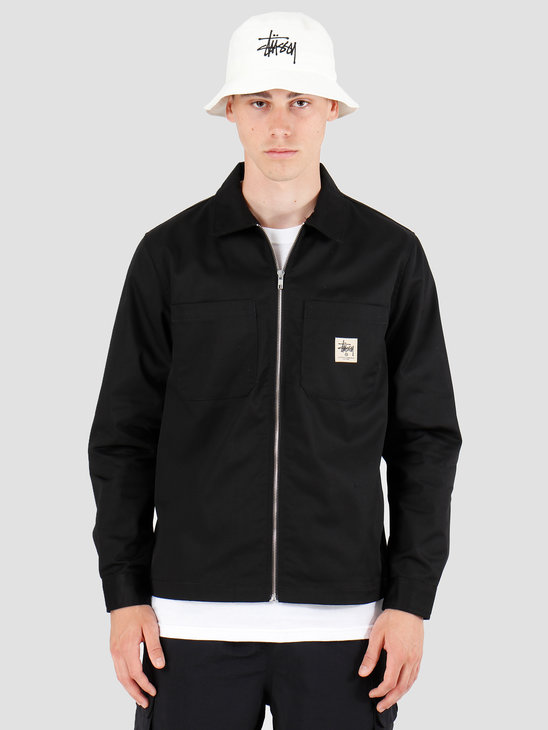 Stussy Zip Up Work Longsleeve Shirt Black 1110065