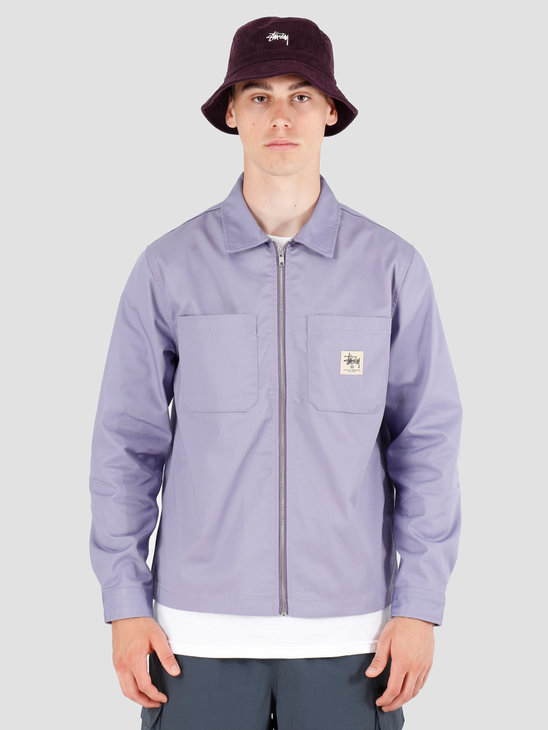 Stussy Zip Up Work Longsleeve Shirt Lavendar 1110065