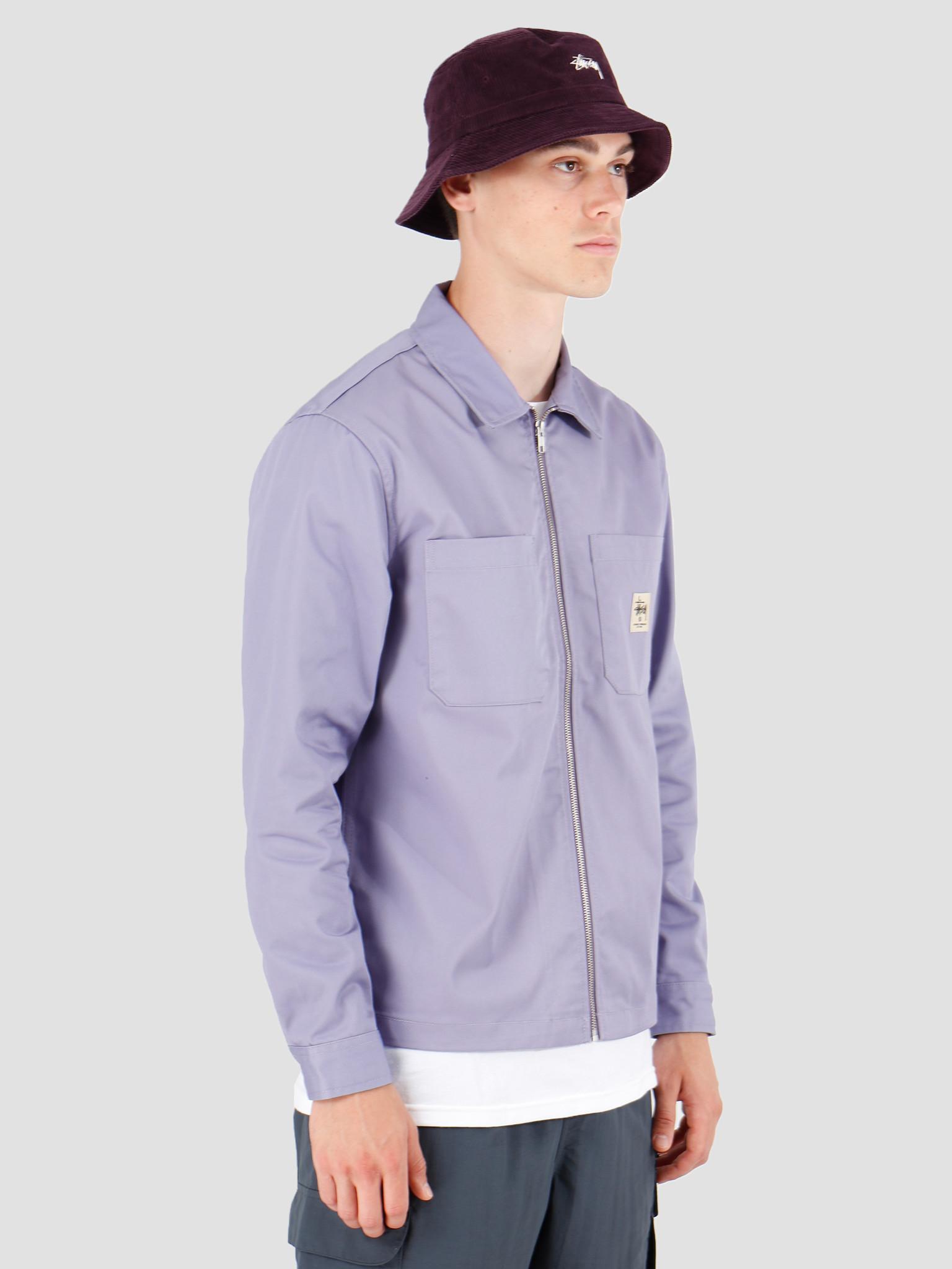 Stussy Stussy Zip Up Work Longsleeve Shirt Lavendar 1110065