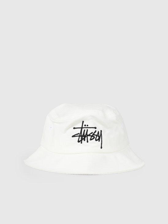 Stussy Big Logo Bucket Hat White 132942