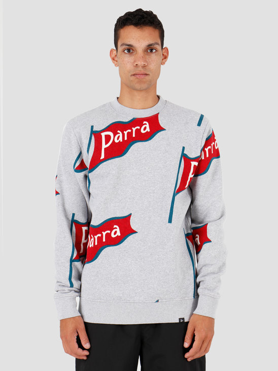 By Parra Flapping Flag Crew Neck Sweater Heather Grey 42880